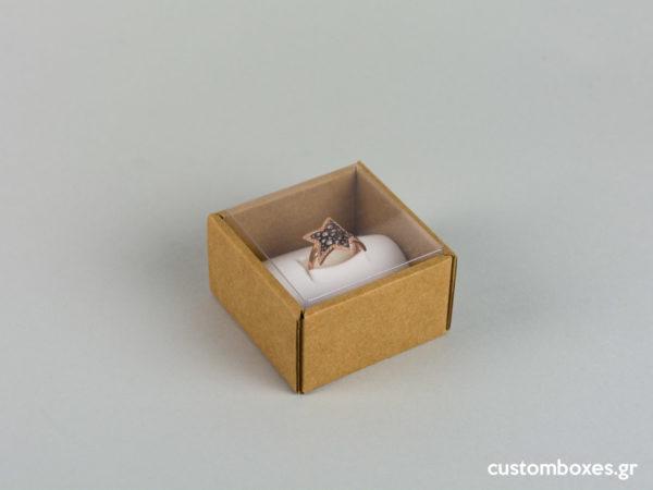 Οικολογικά κουτιά για μεγάλο δαχτυλίδι με διάφανο καπάκι koutia eco spirtokouta diafano kapaki