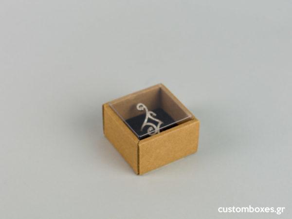 Οικολογικά κουτιά για μενταγιόν μικρό δαχτυλίδι με διάφανο καπάκι koutia eco spirtokouta diafano kapaki
