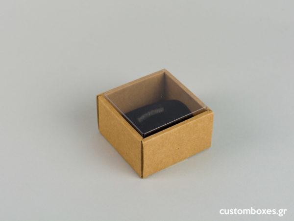 Οικολογικά κουτιά για μενταγιόν μεγάλο δαχτυλίδι με διάφανο καπάκι koutia eco spirtokouta diafano kapaki