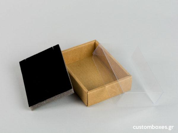 Οικολογικά κουτιά για μενταγιόν Νο5 με διάφανο καπάκι koutia eco spirtokouta diafano kapaki