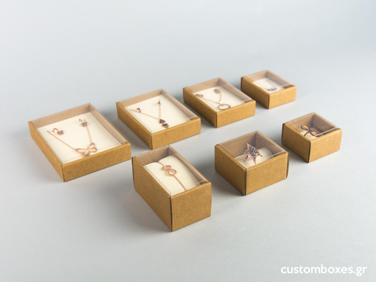 Οικολογικά κουτιά για κοσμήματα koutia eco spirtokouta selofan ekrou