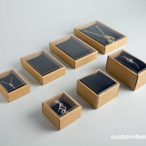 Eco-friendly kraft paper boxes for jewellery with transparent lid Black