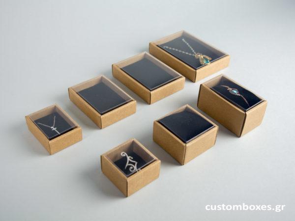 Οικολογικά κουτιά για κοσμήματα με διάφανο καπάκι koutia eco spirtokouta diafano kapaki