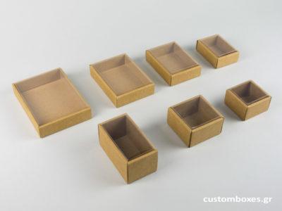 οικολογικά κουτιά για κοσμήματα oikologika kraft spirtokouta diafanes kapaki