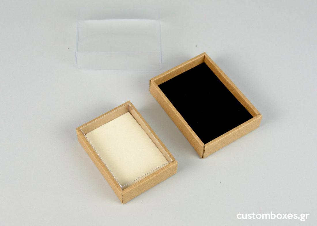 Χάρτινα κουτιά κοσμημάτων με βελούδινη βάση jewellery boxes kraft velvet clear lid