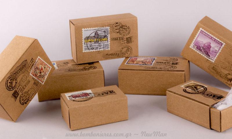 Kraft σπιρτόκουτο μπομπονιέρα γάμου με γραμματόσημα